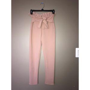 Blush pink paperbag skinny trousers